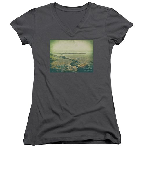 Women's V-Neck featuring the photograph Rock Steady by Leigh Kemp
