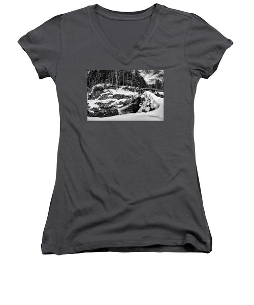 Women's V-Neck featuring the photograph Rocky Gorge Foot Bridge N H by Michael Hubley