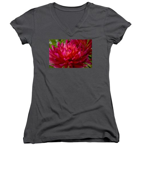 Ruby Red Dahlia Women's V-Neck