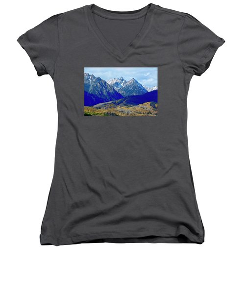 Women's V-Neck featuring the photograph Rugged Peaks by Dan Miller