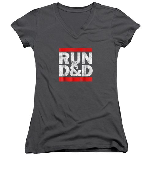 Run Dnd Dungeon Game Tabletop Rpg Shirt Women's V-Neck
