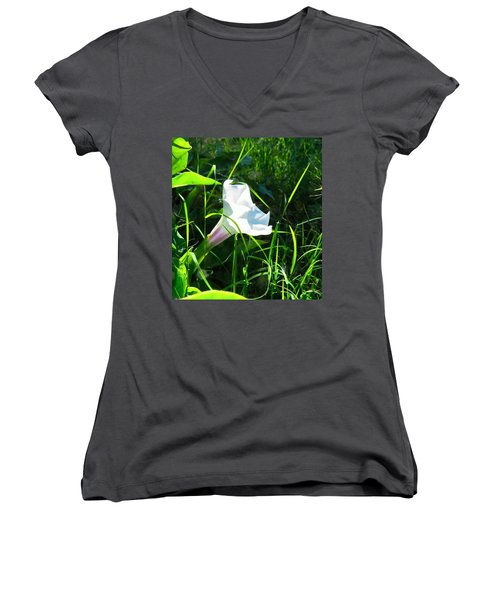 Women's V-Neck (Athletic Fit) featuring the photograph Sacred Datura - Fairy Flower by Judy Kennedy