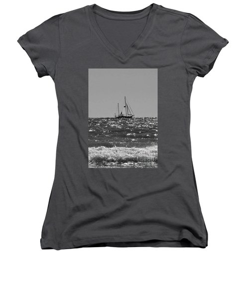 Sailboat In Black And White Women's V-Neck