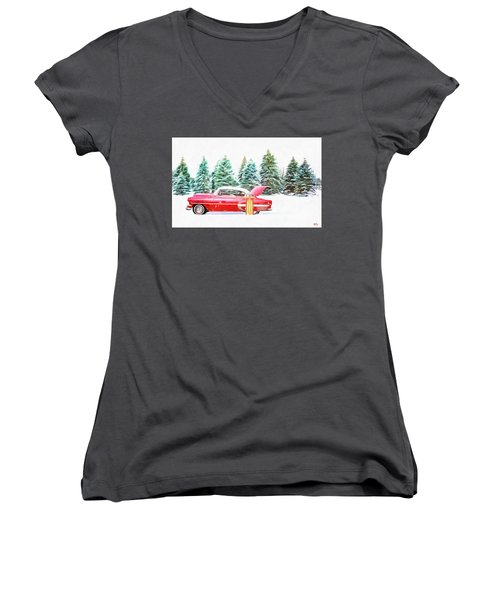 Women's V-Neck featuring the painting Santa's Other Sleigh by Harry Warrick