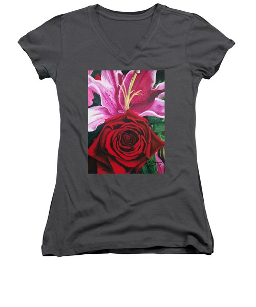 Scarlet Knight And A  Lily  Women's V-Neck