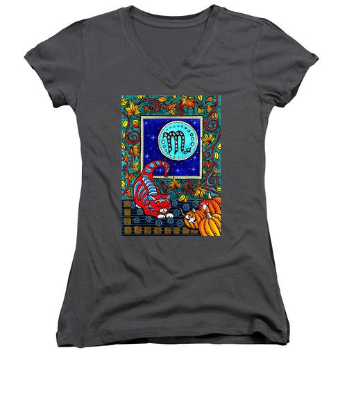 Scorpio Cat Zodiac Women's V-Neck