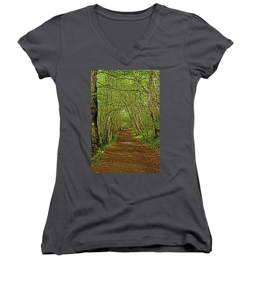 Scotland. Killiecrankie. Path Through The Trees. Women's V-Neck
