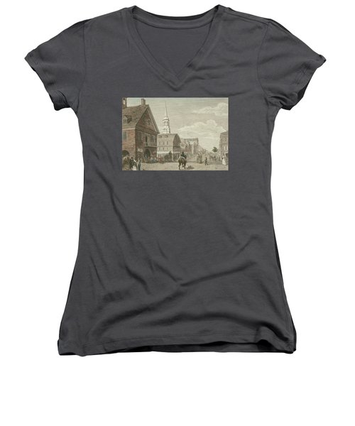 Second Street North From Market St. And Christ Church Women's V-Neck