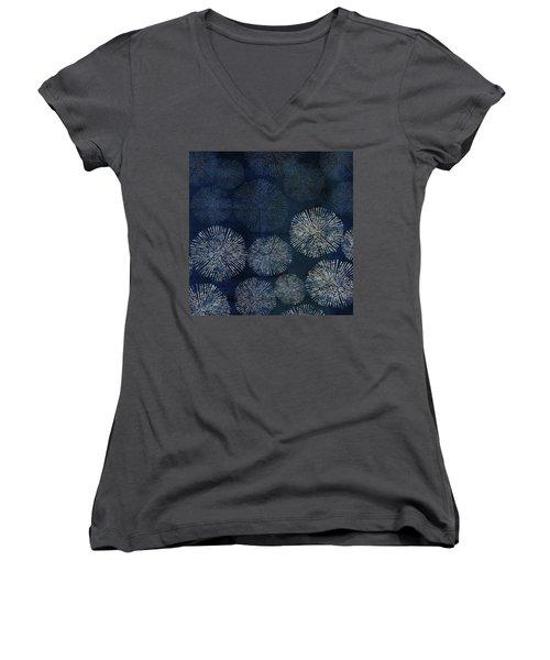 Shibori Sea Urchin Burst Pattern Dark Denim Women's V-Neck