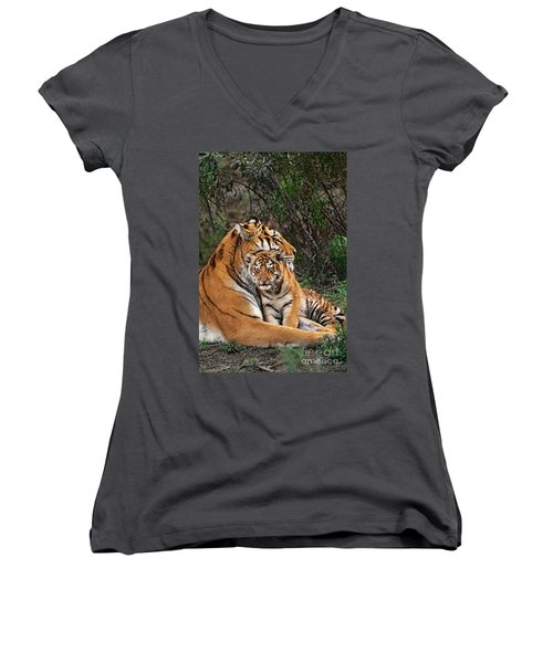 Siberian Tiger Mother And Cub Endangered Species Wildlife Rescue Women's V-Neck