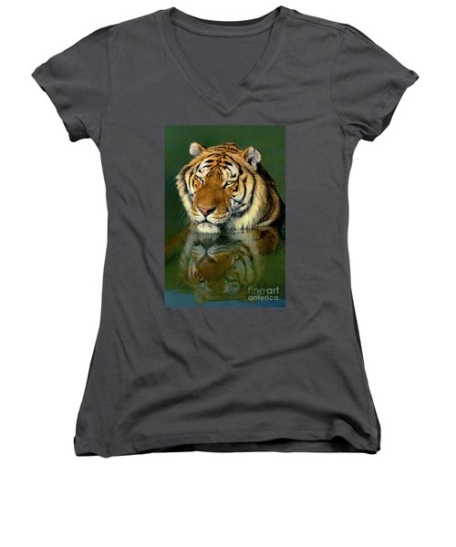 Women's V-Neck featuring the photograph Siberian Tiger Reflection Wildlife Rescue by Dave Welling