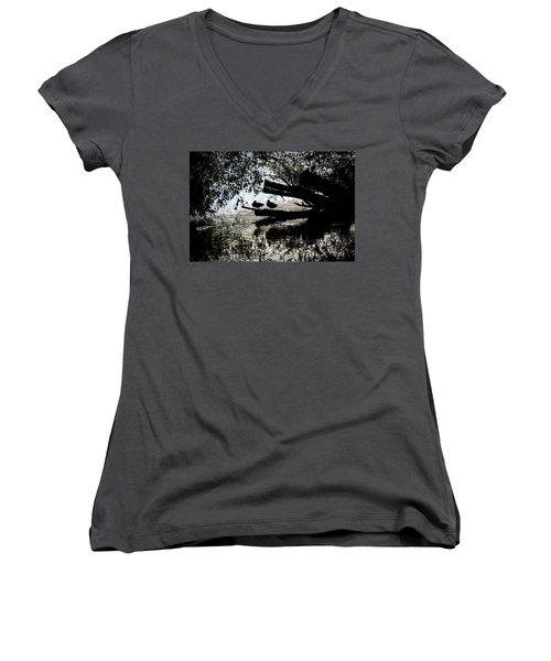 Silhouette Ducks #h9 Women's V-Neck