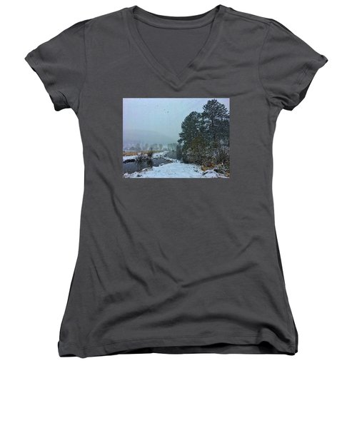 Women's V-Neck featuring the photograph Snowstorm At The Lake by Dan Miller