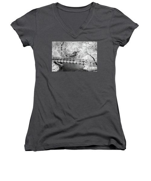 Snowy Bridge On Mill Creek Women's V-Neck