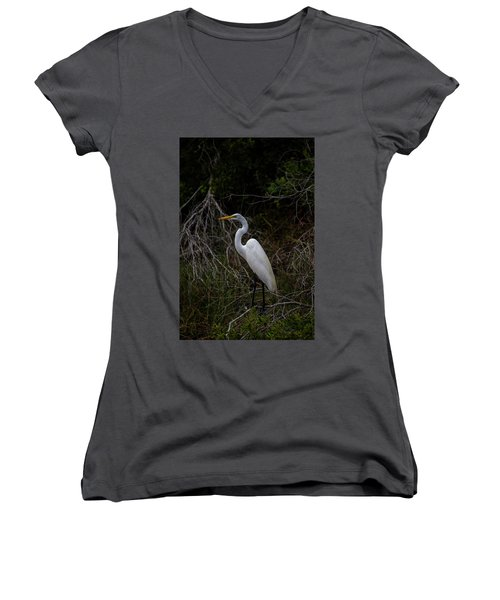 Women's V-Neck featuring the photograph Snowy Egret On A Hot Summer Day by Kevin Banker