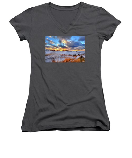 Snowy Sunset Women's V-Neck