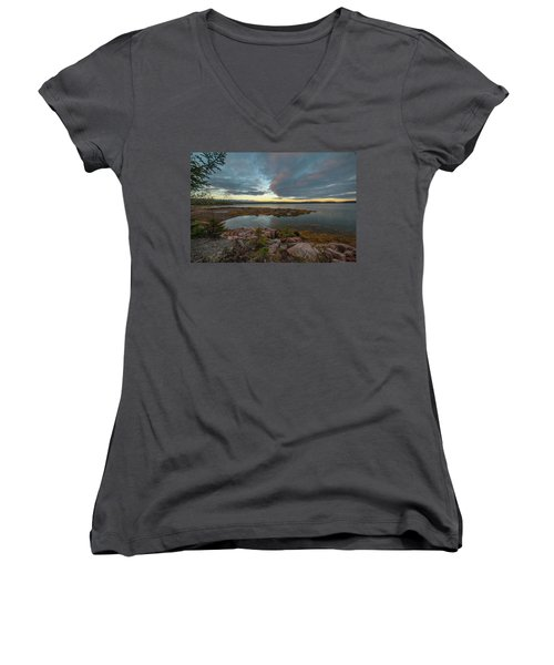 Women's V-Neck featuring the photograph Somes Sound Sunset by Rick Hartigan
