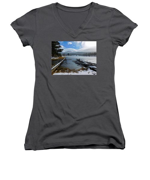 Women's V-Neck featuring the photograph Sprague Lake by Dan Miller