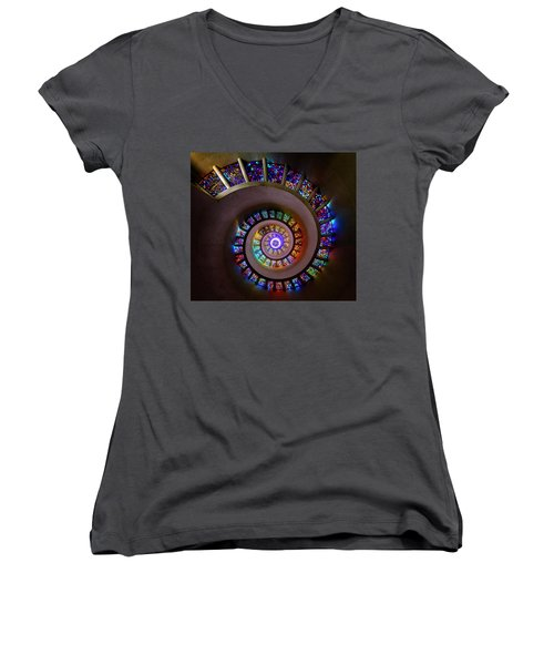 Stained Glass Spiral Women's V-Neck