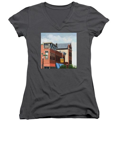 Standing Tall -local City Buildings Women's V-Neck