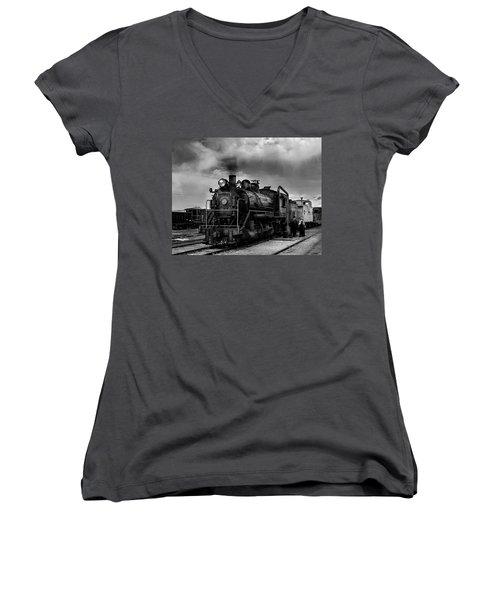 Steam Locomotive In Black And White 1 Women's V-Neck