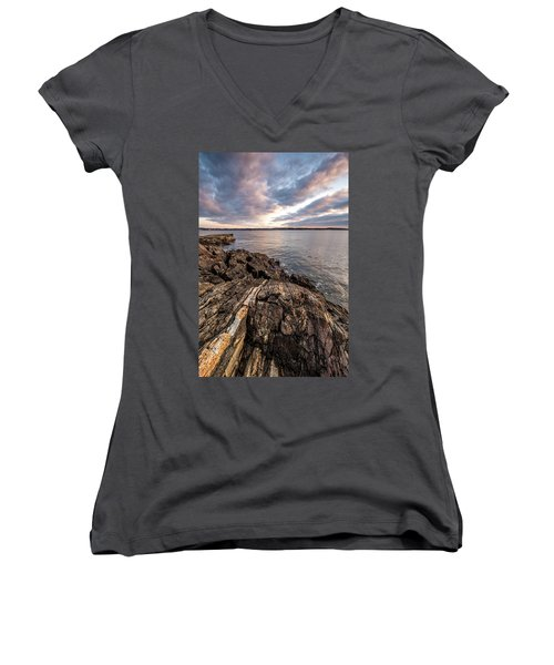 Striations. Leading Lines In The Rocks Women's V-Neck