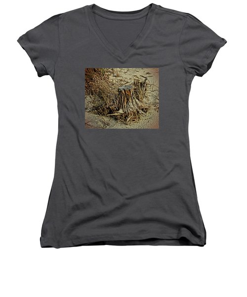 Stump At The Beach Women's V-Neck (Athletic Fit)