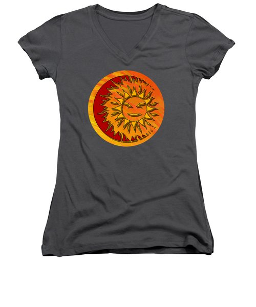 Sun Eclipsing The Moon Women's V-Neck