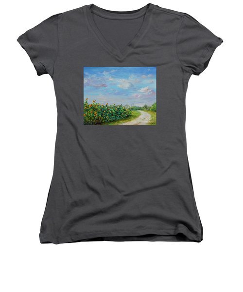 Sunflower Field Ptg Women's V-Neck