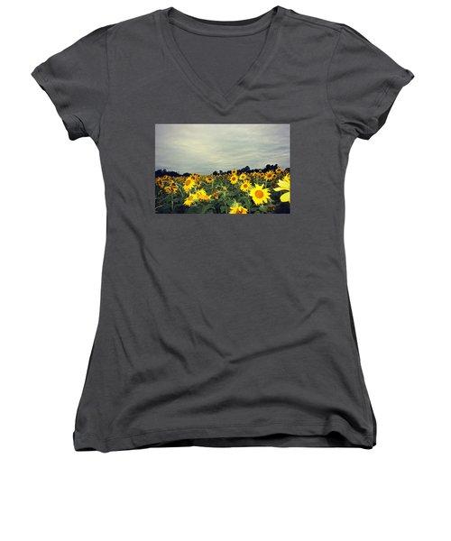 Sunflower Fields Women's V-Neck