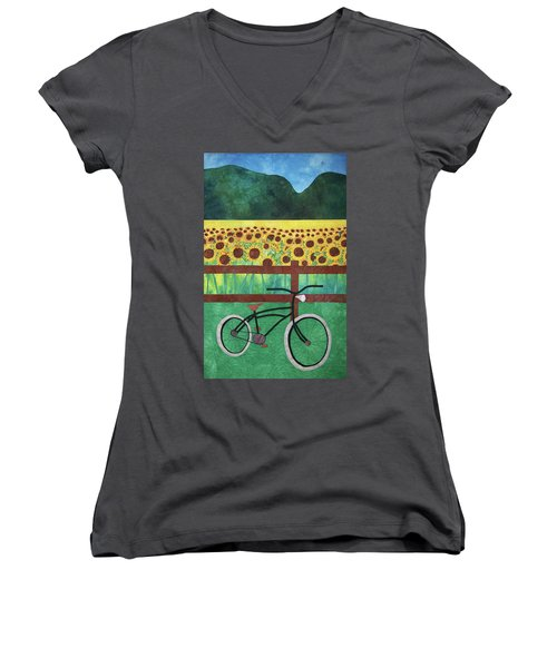 Sunflowers At Whitehall Farm Women's V-Neck