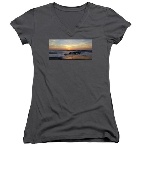 Sunrise At The 15th St Jetty Women's V-Neck (Athletic Fit)