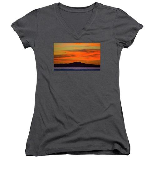 Sunrise Over Santa Monica Bay Women's V-Neck