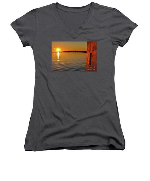 Sunset And Old Watermill Women's V-Neck