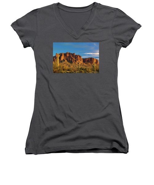 Sunset At Superstition Mountain Women's V-Neck