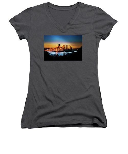 Sunset In The City Women's V-Neck