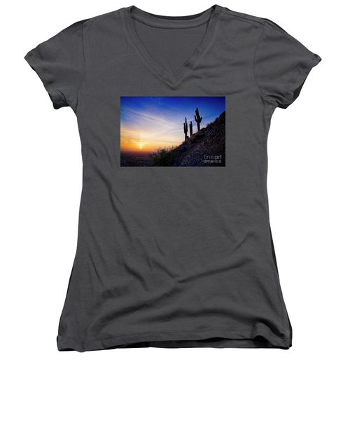 Sunset In The Desert Women's V-Neck