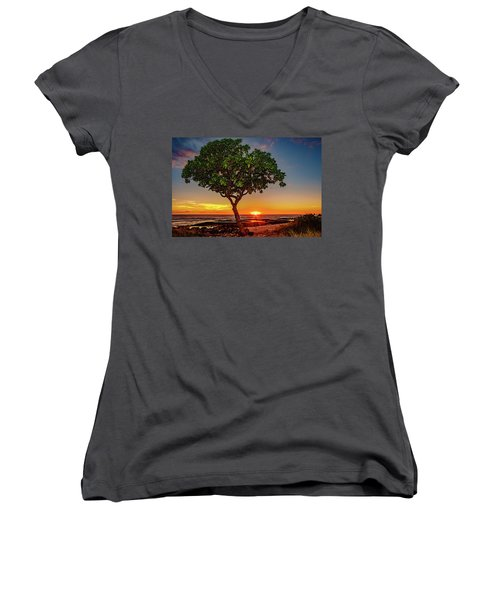 Sunset Tree Women's V-Neck