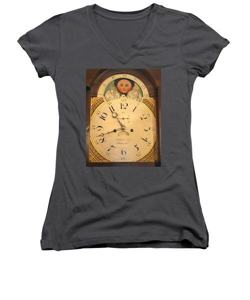 Tall Case Clock Face, Around 1816 Women's V-Neck