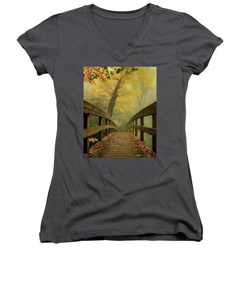 Tanawha Trail Blue Ridge Parkway - Foggy Autumn Women's V-Neck