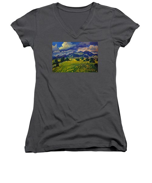 Taos Yellow Flowers Women's V-Neck