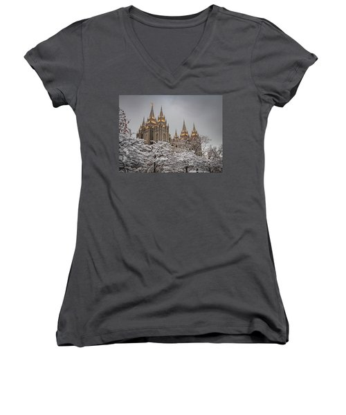 Temple In The Snow Women's V-Neck
