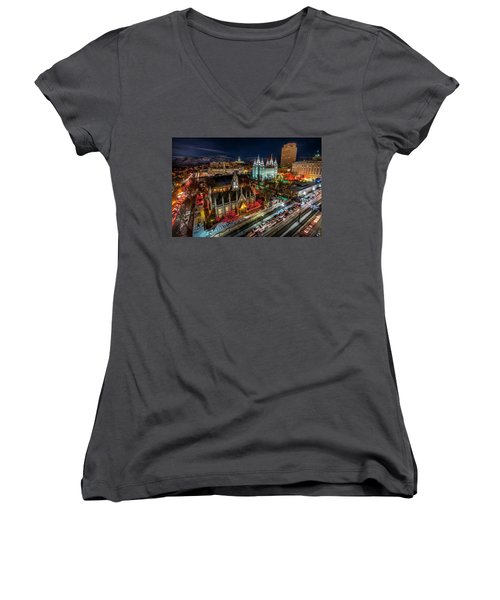 Temple Square Lights Women's V-Neck