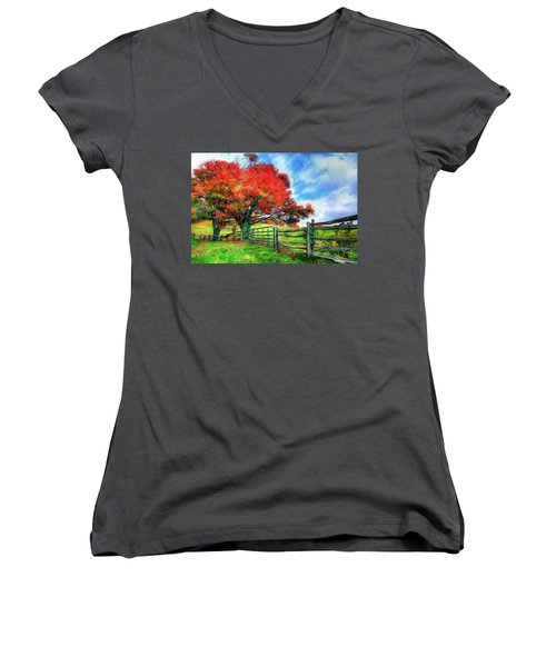 The Beauty Of A Blue Ridge Autumnl Ap Women's V-Neck