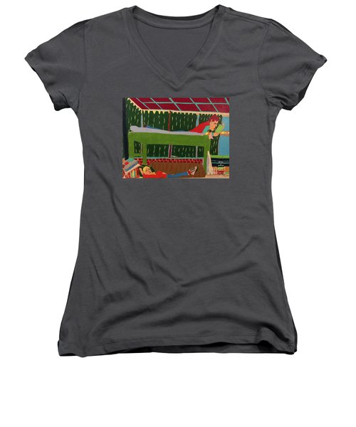 Women's V-Neck featuring the drawing The Bunk by John Wiegand