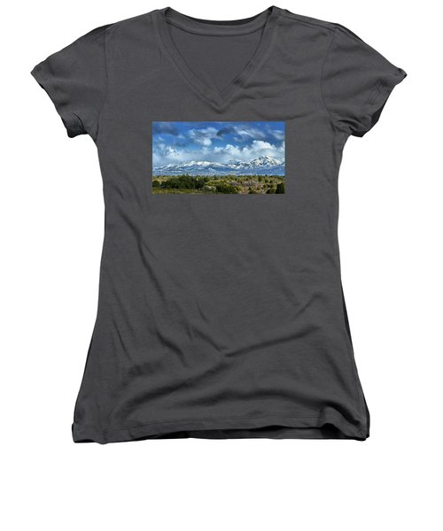 The City Of Bariloche And Landscape Of Snowy Mountains In The Argentine Patagonia Women's V-Neck