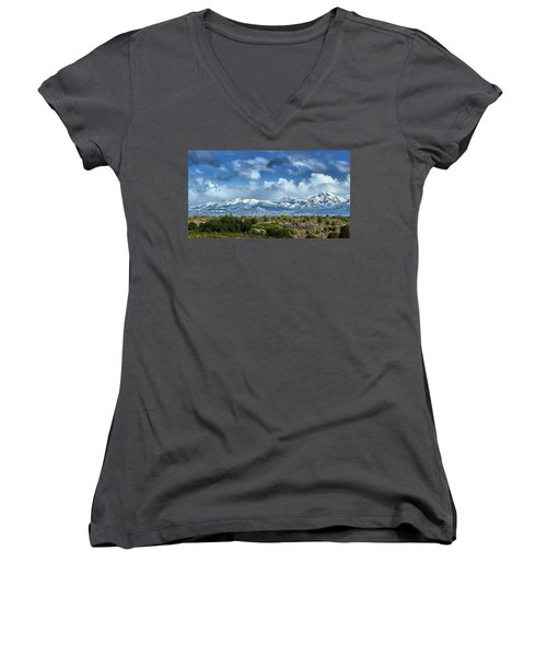 Women's V-Neck featuring the photograph The City Of Bariloche Surrounded By Mountains by Eduardo Jose Accorinti