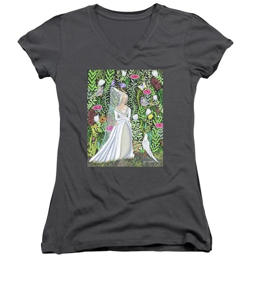 The Lady Vanity Takes A Break From Mirroring To Dream Of An Unusual Garden  Women's V-Neck