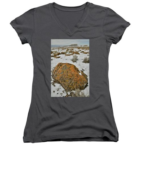 The Lichen Covered Boulders Of The Book Cliffs Women's V-Neck