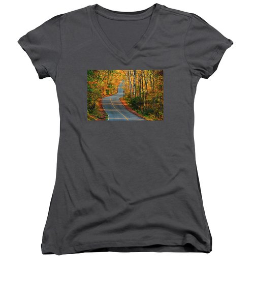 Women's V-Neck (Athletic Fit) featuring the photograph The Road Up Mount Greylock by Raymond Salani III
